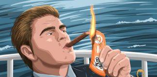 bohaty clovek zapaluje cigaru bitcoin bankovka