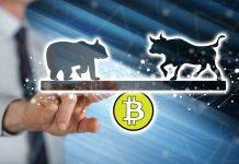 man touching a bitcoin bull bear BTC kryptoměny